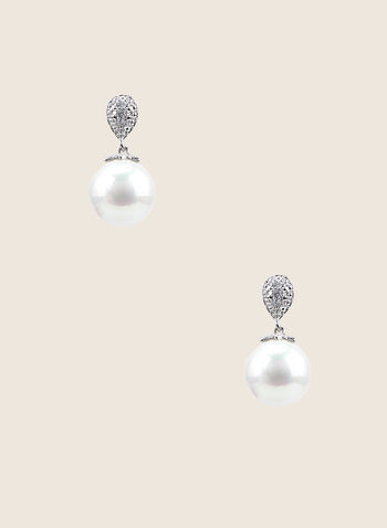 Teardrop Pearl Earrings , Off White,  earrings, pearl, textured teardrop, Spring Summer 2020
