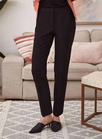 Modern Fit Straight Leg Pants, Black,  pants, modern fit, straight leg, mid rise, stretchy, pleats, spring summer 2020