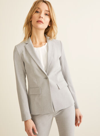 Notch Collar Jacket, Grey,  jacket, blazer, notch collar, long sleeves, one button jacket, fitted jacket, fitted blazer, spring 2020, summer 2020