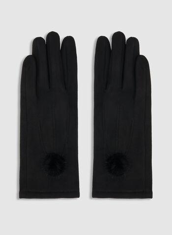 Gants imitation suède avec pompon, Noir, hi-res,  automne hiver 2019, gants, faux suède, imitation suède, tricot, pompon, fausse fourrure