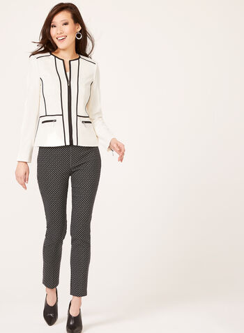 Structured Contrast Jacket, Black, hi-res