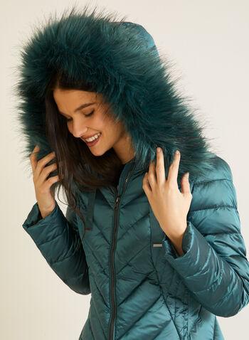 Manteau iridescent à fausse fourrure, Vert,  automne hiver 2020, manteau, manteau d'hiver, matelassé, capuchon, duvet, poches, plumes