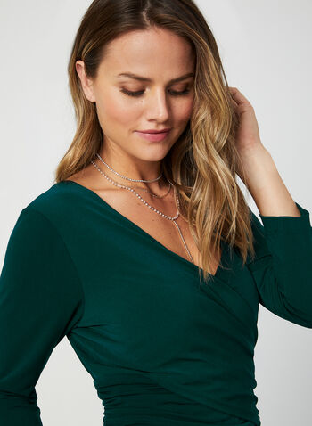 3/4 Sleeve Jersey Jumpsuit, Green,  fall winter 2019, jersey, V-neck, surplice neck, long sleeve, 3/4 sleeves