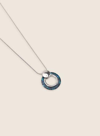 Collier à pendentif anneau en résine, Bleu,  collier, métal, résine, anneau, printemps été 2020