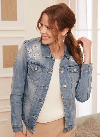 Embellished Denim Jacket, Blue,  jacket, denim, embellished, floral, embroidery, spring summer 2021