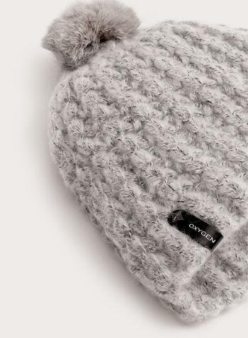 Tuque en tricot chiné avec pompon de fourrure, , hi-res