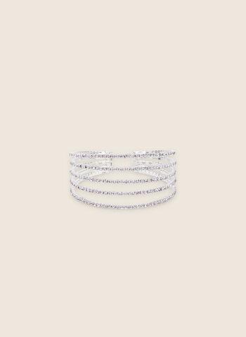 Bracelet manchette à cristaux, Argent,  bracelet, manchette, cristaux, printemps été 2020