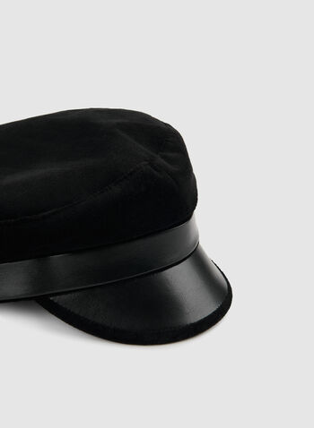 Casquette gavroche en velours et similicuir, Noir, hi-res,  casquette gavroche, similicuir, velours, automne hiver 2019