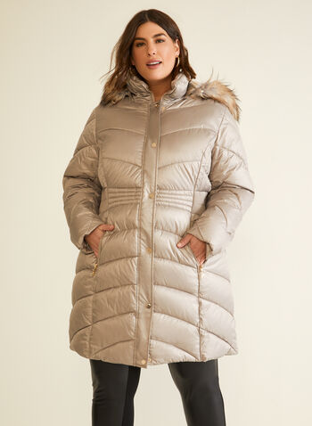 Iridescent Vegan Down Coat, Brown,  fall winter 2020, coat, quilted, iridescent, down, vegan, hood, faux fur, pockets, winter coat