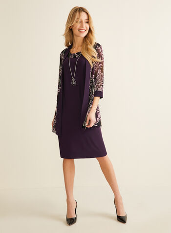 Dress & Floral Mesh Cardigan Set, Purple,  dress, cardigan, set, ensemble, floral, textured, mesh, necklace, pendant, sleeveless, 3/4 sleeves, jersey, spring summer 2020