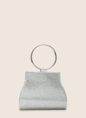 Pochette trapèze métallisée à anneau, Argent,  pochette, trapèze, anneau, métallisée, cristaux, printemps été 2020