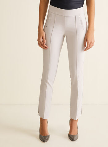 City Fit Slim Leg Pants, Grey,  pants, city, slim leg, bengaline, stretchy, ankle, rivets, slits, pull-on, pleats, spring summer 2020