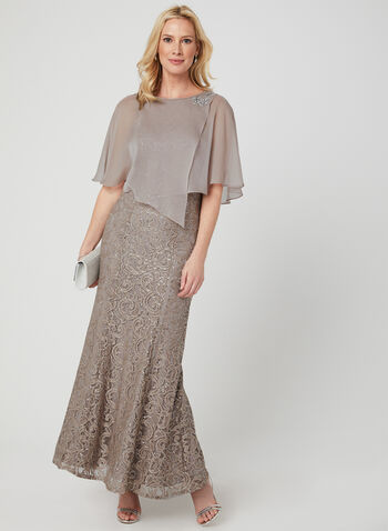 Sequin Lace Dress & Poncho Set, Brown, hi-res