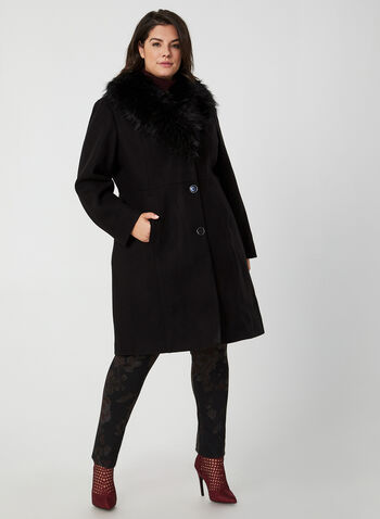 Wool-Blend Coat, Black, hi-res,  coat, faux fur coat, faux wool coat, faux fur, buttoned coat, fall 2019, winter 2019