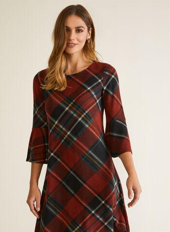 Robe à manches cloche et motif tartan , Rouge,  automne hiver 2020, robe, manches cloche, motif tartan, encolure ronde, coupe fluide