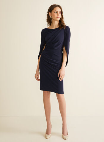 Draped Jersey Dress, Blue,  spring summer 2020, draped cape sleeves, jersey fabric, ruching, boat neck, cocktail dress