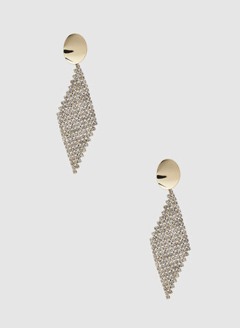 Diamond Shaped Dangle Earrings, Gold,  earrings, dangle earrings, diamond, crystals, crystal earrings, metallic, holiday, fall 2019, winter 2019