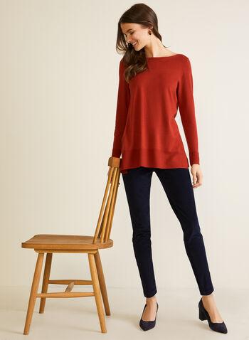 Long Fine Knit Sweater, Orange,  fall winter 2020, sweater, knitting, holiday, top, long sleeves, tunic