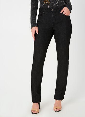 Simon Chang - Signature Fit Straight Leg Jeans, Black,  fall winter 2019, denim, straight leg