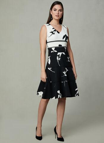 Crochet Detail Fit & Flare Dress, Black, hi-res