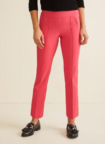 City Fit Slim Leg Pants, Red,  pants, city, slim leg, bengaline, stretchy, ankle, rivets, slits, pull-on, pleats, spring summer 2020