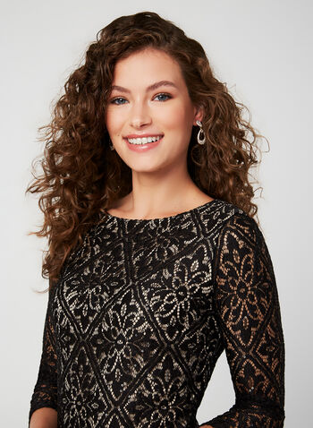 Sequined Lace Cocktail Dress , Black,  cocktail dress, sequin, lace, 3/4 sleeves, fall 2019, winter 2019