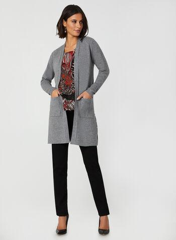 Cardigan ouvert à détails cloutés, Bleu,  cardigan, long, ouvert, fentes, détails cloutés, automne hiver 2019