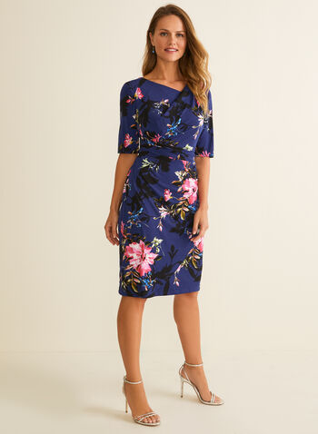 Floral Print Elbow Sleeve Dress, Blue,  dress, day dress, floral, jersey, asymmetric, wrap, drape, elbow sleeves, spring summer 2020