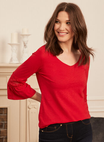 Bell Sleeve Lace Detail Tee, Red,  t-shirt, top, bell sleeves, lace detail, cotton, modal, spring summer 2020