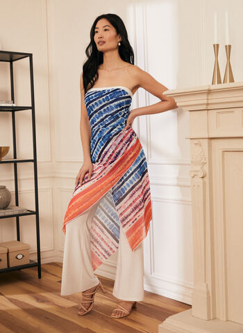 Joseph Ribkoff - Pants & Watercolour Print Dress, White,  dress, day, watercolour, pants, jersey, asymmetrical, strapless, ribkoff, lyman, made in Canada, spring summer 2021