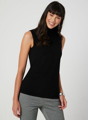 Sleeveless Knit Turtleneck, Black,  turtleneck, sleeveless, knit, fall 2019