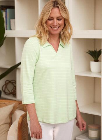 Stripe Print Top, Green,  spring summer 2021, tops, blouses, polo, v neck, lapel collar, made in Canada, horizontal stripes,