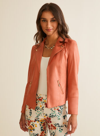 Faux Suede Open Front Blazer, Orange,  blazer, jacket, faux leather, suede, zipper, open front, notch collar, spring summer 2020