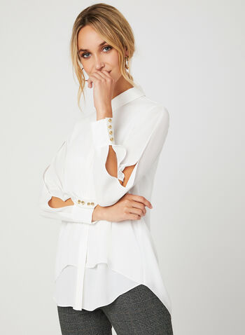 Solid Colour Long Sleeve Blouse, Off White, hi-res