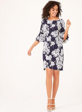 Jessica Howard - ¾ Bell Sleeve Floral Print Dress , Blue, hi-res