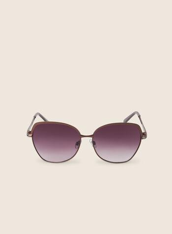 Lunettes de soleil carrées en métal, Brun,  printemps été 2020, accessoire, lunettes, lunettes de soleil, carrées