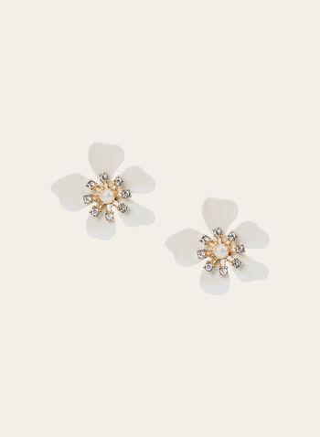 Flower Detail Stud Earrings, White, hi-res