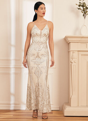 V-Neck Sequin Gown, Silver,  prom dress, column, sleeveless, spaghetti straps, open back, mesh, sequins, jersey, gown, spring summer 2021
