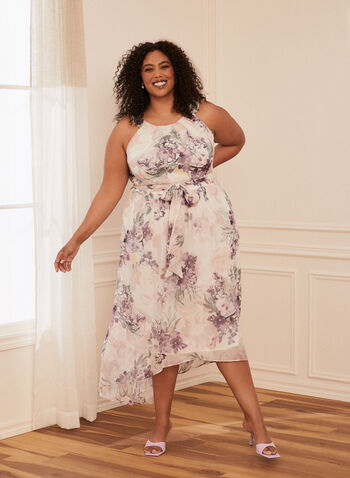 Floral Print Cleo Neck Dress, White,  evening dress, sleeveless, chiffon, cleo neck, floral, tie belt, high low, spring summer 2020