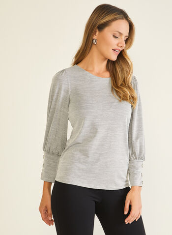3/4 Puffed Sleeve Top, Silver,  top, puffed sleeves, 3/4 sleeves, knit, scoop neck, fall winter 2020