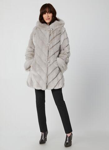 Nuage - Faux Fur Coat, Silver,  coat, faux fur, fixed hood, slash pockets, toggles, Nuage, fall 2019, winter 2019