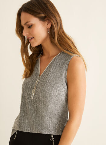 Zipper Detail V-Neck Top, Grey,  top, sleeveless, v-neck, zipper, knit, spring summer 2020