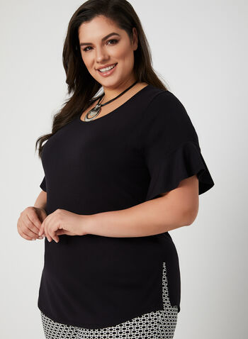 Ruffle Sleeve T-Shirt, Black, hi-res