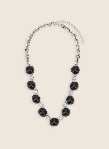 Collier à pierres ovales en résine, Noir,  collier, résine, pierres ovales, maillons, métal, printemps été 2020