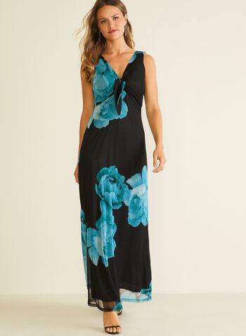 Floral Print Knot Detail Dress, Black,  day dress, maxi, floral, mesh, knot, v-neck, sleeveless, spring summer 2020