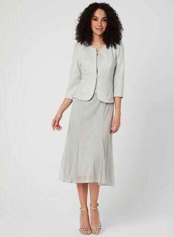 Metallic Dress & Jacket Set, Silver, hi-res