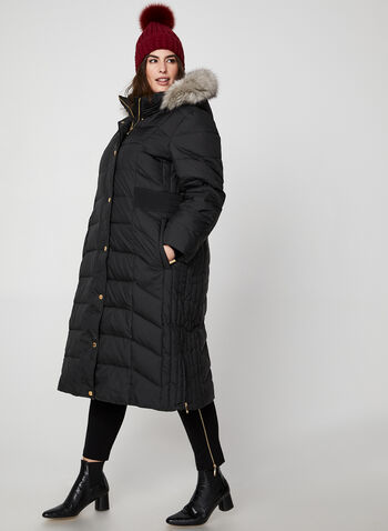 Anne Klein - Long Faux Fur Down Coat, Black,  coat, winter coat, long coat, down coat, down, faux fur, faux fur coat, fall 2019, winter 2019