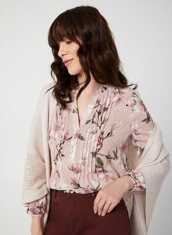 Blouse en mousseline fleurie, Multi,  blouse, col V, manches longues, fleurs, pois, mousseline, automne hiver 2019