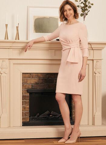 Tie Detail Sheath Dress, Pink,  cocktail dress, 3/4 sleeves, tie, origami, sheath, crepe, fall winter 2020