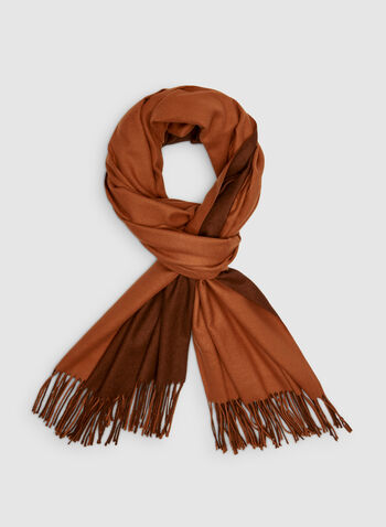 Reversible Pashmina Scarf, Orange,  cotton, fringe, two tone, reversible, fall 2019, winter 2019
